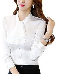 dc9d096e232574 Cheerlife Elegant Damen Langarm Bluse mit Rüschen Volants Hemdbluse Slim  Fit OL Business Oberteil Tunika