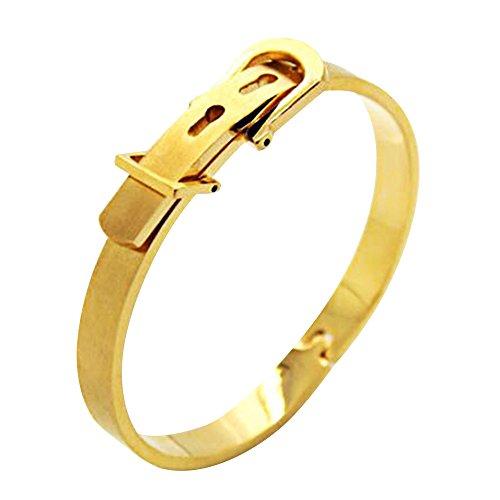 Contever® Acciaio Inossidabile 316L Classici Belt Buckle del Bracciale Braccialetto Wristband del Polsino del Omini - D'oro