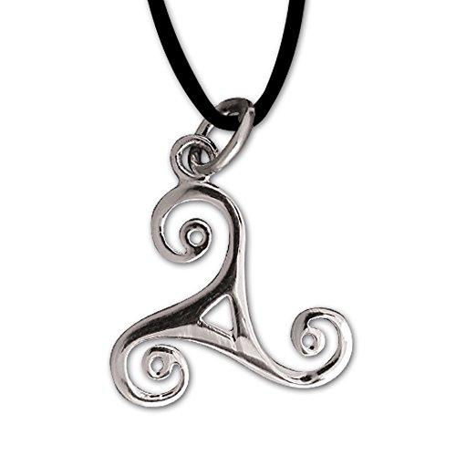 Anhänger keltische Triskele Dreierwirbel 925er Silber Schmuck Schutzamulett mit Lederhalsband Schmucksäckchen und Karte 545