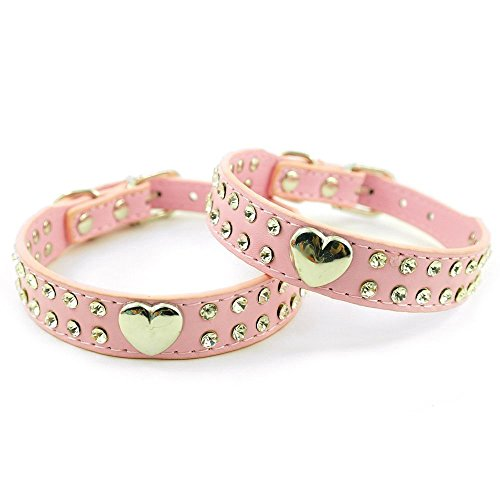 Lesypet Lederhalsband mit Reizendes Herz Charm Bling Kristall -Pink -Medium -