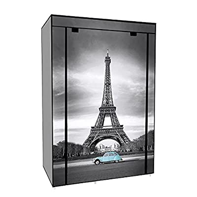 Canvas Clothing Closet Shelf Wardrobe Shelves Cupboard Clothes Storage Organiser System with Hanging Rail for Bedroom - EBS Eiffel Tower - cheap UK light store.