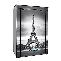 EBS® Tragbare Non Woven Canvas Stoff Kleiderschrank Faltschrank/Lagerung 5 Regale - Eiffelturm 105 x 45 x 158 cm