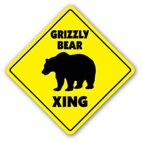 Grizzly Bear Crossing Sign Zone Xing |-| 30,5 cm Hoch Schwarz Braun Kodial Alaska -