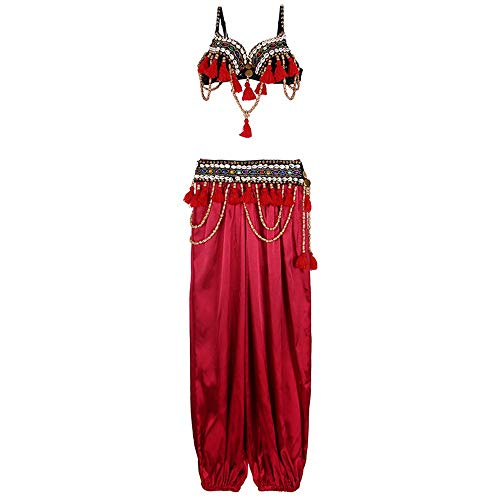 MISHUAI Tanzkleid für Damen Frauen Sexy Bauchtanz-BH-Gürtel Professioneller BH-Gürtel + Hosen Geeignet for Frauen, die Bauchtanz mögen Tanz Performance Rock (Farbe : Rot, Größe : L)