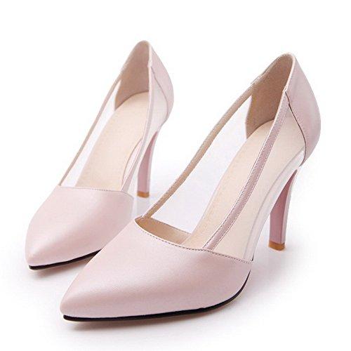VogueZone009 Femme Stylet Matière Souple Couleur Unie Tire Fermeture D'Orteil Pointu Chaussures Légeres Rose