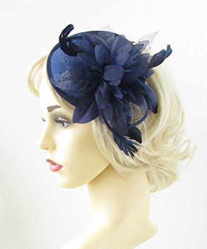Bleu marine plumes Bandeau Coiffe courses Fleur vintage Cheveux 951 * exclusivement Vendu par Starcrossed Beauty *