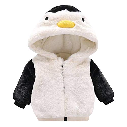 FeiliandaJJ Baby Mantel,Infant Toddler Mädchen Junge Herbst Winter Vlies Kapuzenjacke Outwear Kinder Cute Pinguin Coat Reißverschluss Fleece Jacken Dicke Warme Kleidung (70 (0~6Monate), Weiß)