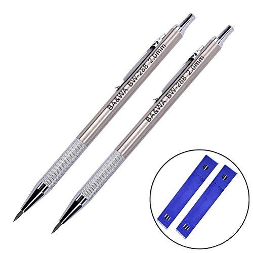 youger 2Stück Metall Druckbleistift 2.0mm Professional Automatik Ausarbeitung Bleistift 2B Blei Halter + 24Ersatzminen