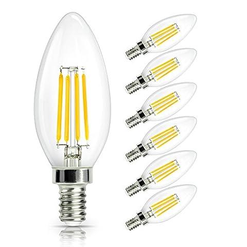 SHINE HAI Ampoule LED Filament E14, 4W Equivalent à Ampoule Halogène /Incandescente 40W, Blanc Chaud 2700K, Flamme Bougie LED encastrable, 470lm, 360° Faisceau, IRC>80, Lot de 6