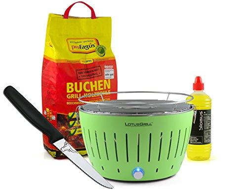 Lotusgrill GRÜN inkl. 2,5kg Holzkohle, Brenngel 1L & Steakmesser