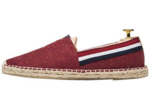 Insun Alpargatas para Hombres Lona Vamp Artesanal Suela Cuerda de Yute Zapatos Moda Rojo 39 EU