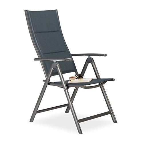 Relaxdays sedia a sdraio da giardino pieghevole, antracite, 81 x 55 x 108 cm