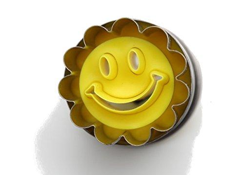 Neustanlo® Mini Linzer Ausstecher Ausstechform mit Auswerfer 3,6 cm Ø (Lachender Smiley)