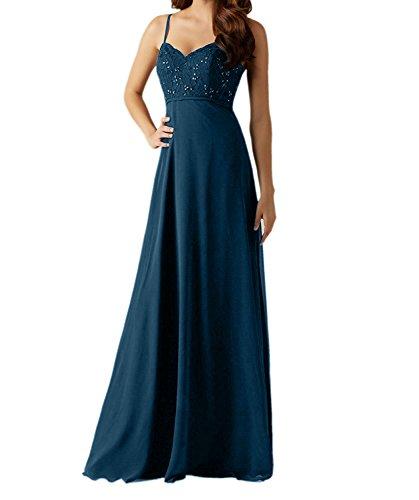 Charmant Damen Navy Blau Chiffon Traeger Abendkleider Brautjungfernkleider Partykleider lang A-linie Rock Dunkel Blau