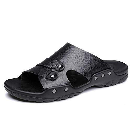 Kuletieas Sommer Männer Leder Hausschuhe Mode Leder Herren Hausschuhe Weiches Leder Fußmassage Hausschuhe Sommer Männer Strand Schuhe-7 UK