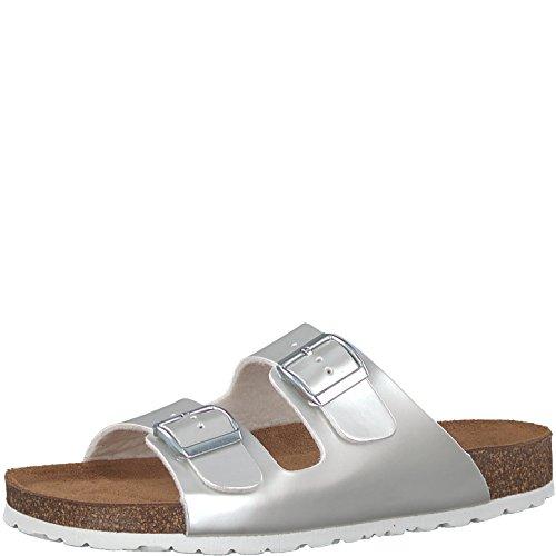 Tamaris 1-1-27521-30 Damen Pantolette, Clogs, Sandale, Sommerschuhe für die Modebewusste Frau Metallic (Dull Silver), EU 42