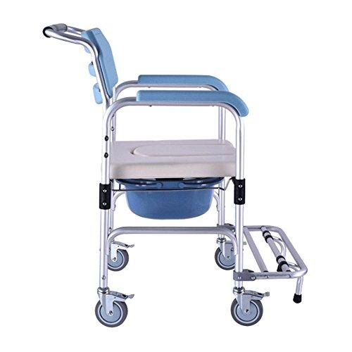 SHKD Healthcare Folding Portable Fixed Height Mobile Kommode und über WC Stuhl, Duschstuhl mit Rädern und Bremsen