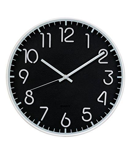 Basement Bazaar Plastic Tube Wall Clock (35.5cm x 35.5cm, Black and White)