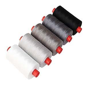 5 Bobines de 8 Mètres de Fil pour Machine à coudre par Kurtzy - Couleurs Noir, Gris Foncé, Argenté, Blanc et Gris - 100% Coton pour la Broderie, la Couture et les Travaux d'Aiguille - Brins Résistants