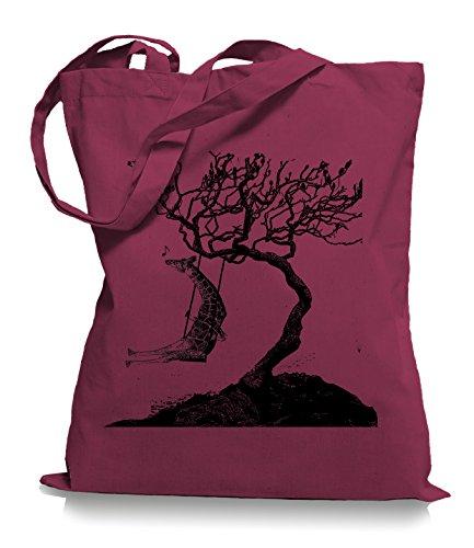 Ma2ca® Rocking Giraffe - Jutebeutel Stoffbeutel Tragetasche / Bag WM101 Cranberry