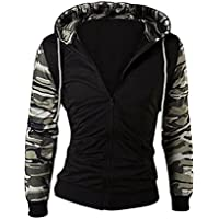 Sourcingmap Man Camouflage Pattern Long Sleeves Drawstring Hooded Jacket