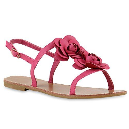 Damen Dianetten Blumen Sandalen Zehentrenner Sommer Flats Beach Zierperlen Schuhe 144066 Pink Blumen Schnalle 38 Flandell
