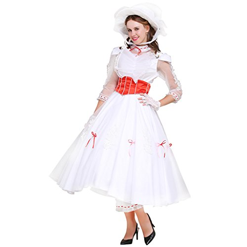 Cosplayitem Women's Cosplay Dress Costume Bubble Long Skirt Set with Hat Princess Dress Small Plus Size White (Ups Paket Halloween Kostüm)
