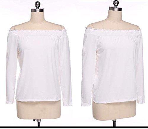 Minetome Mode féminine sexy Off-épaule manches Parti T-shirt occasionnel Blouse Blanc