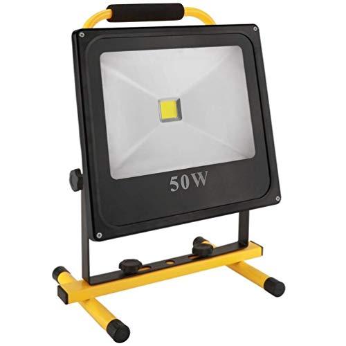 MUTANG 50W 5000LM Tragbare wiederaufladbare kabellose LED-Arbeitsleuchte FloodLight IP65 Wasserdichte Notlicht-Sicherheitsleuchten Eingebaute Li-Ion-Batterien mit Ständer für das Autofahren Camping An -