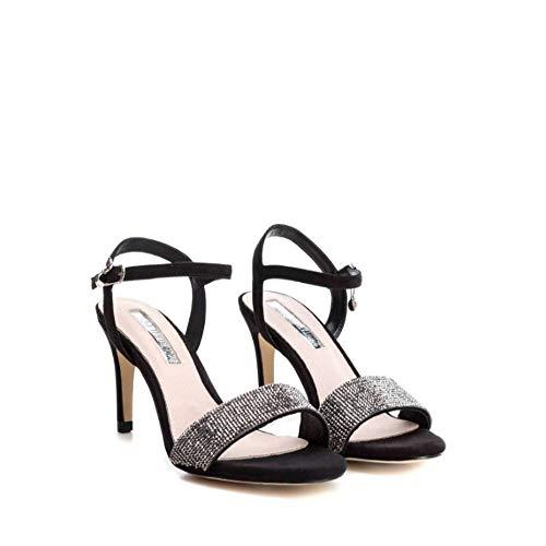 XTI - Sandalia DE Pala Glitter Cuero para Outlet Color: Negro Talla: 36