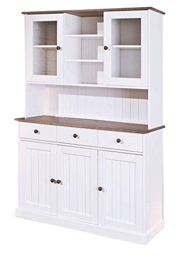 esidra Bentonville Anrichte 5Türen und 3Schubladen, Holz, Weiß, 131x 45x 181cm