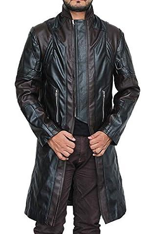 Avengers Age of Ultron Hawkeye Leather Trench Coat Black - Avengers Age of Ultron Hawkeye Trench en cuir noir (XXXL, Noir)