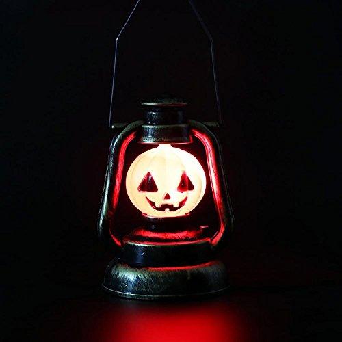 Kürbis Hexe Schädel Latttern Lampe Halloween Dekoration Beleuchtung Umwelt Kunststoff Material LED Lichtquelle ungiftige Malerei Batterie Stromversorgung (Skelett Malerei Kostüm)