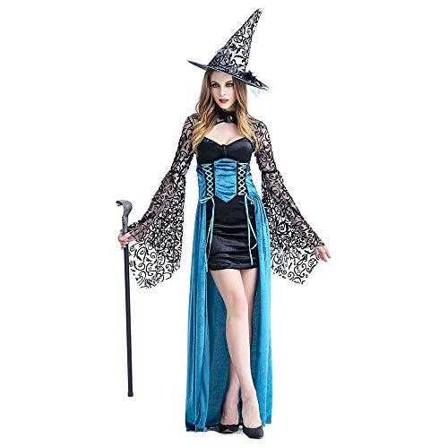 Frauen Halloween kostüm Hexe Cosplay Maskerade Party Zeigen Schneewittchen Rock (einschließlich Hut + Rock + schal),Blue,M