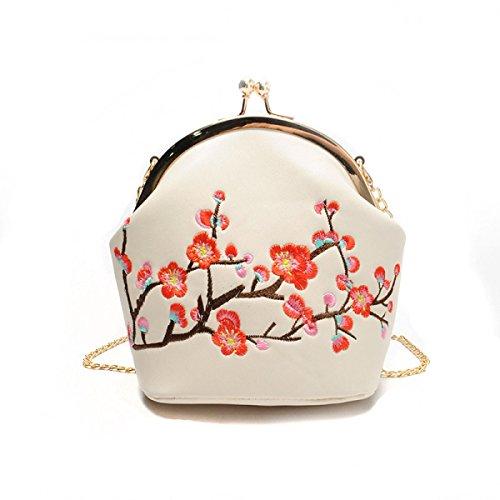 2017 Frau Neue Retro-Stickerei Pflaume Blüte Handtasche Abendessen Tasche Shell Tasche Mode Schulter Diagonale Paket White