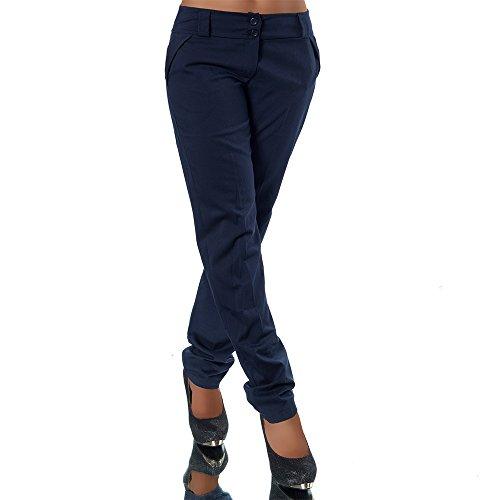 H325 Damen Business Hosen Stoffhose Bootcut Elegante Hose Classic Gerades Bein, Farben:Dunkelblau;Größen:36 S (Etikett T2)