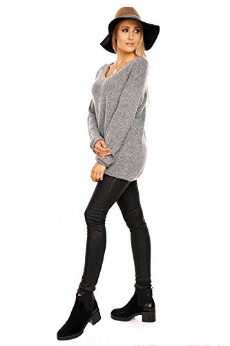 Luzabelle Damen Longpullover V-Pullover Feinstrickpullover Oversized Grau