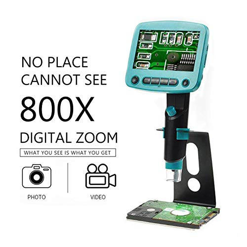 FAY 800X USB-Digitalmikroskop 4,3-Zoll-LCD-Display Löten Einstellbar 5M Pixel Zoom-Optik 8 LED-Licht Labor Recorder Unterstützt 1~64Gb TF-Karte Zoom Lcd Flash