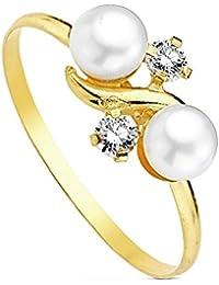 Sortija oro 18k 2 perlas multipiedra [AB3107]