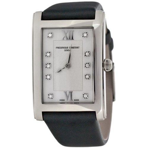 Frederique Constant Carree FC-200WHDC26 - Orologio da polso da donna, cinturino in tessuto colore grigio