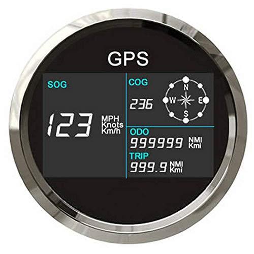 Tachometer, digital, LCD-Geschwindigkeitsmessgerät, mit GPS-Antenne, 7 Hintergrundbeleuchtungen, 85 mm