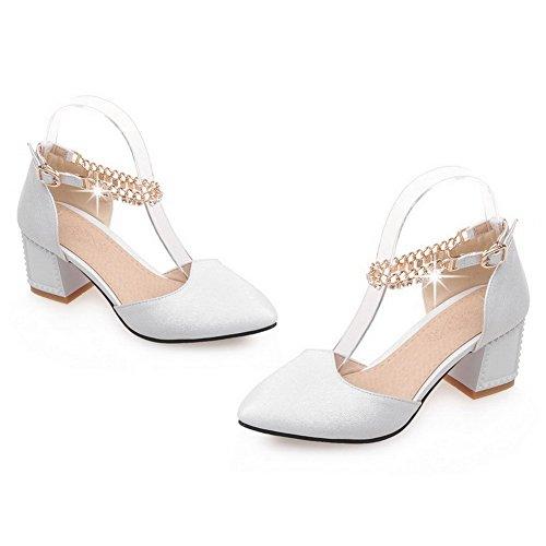 AgooLar Femme Mosaïque Pu Cuir à Talon Correct Pointu Boucle Chaussures Légeres Blanc