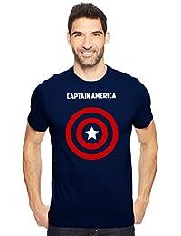 Captain America Superhero Fan Art Men's Cotton Round Neck Tshirt In Navy Blue