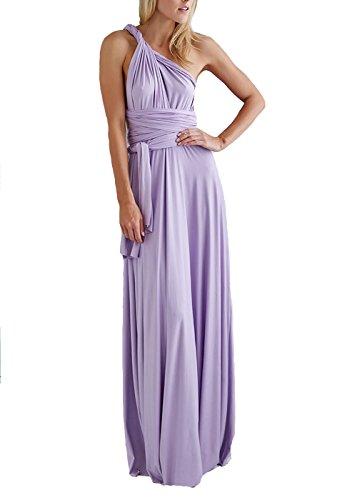 ZEARO Damen Schulterfrei Kleider lang Abendkleid elegant Vintag Kleider ( XL/40) Farbe Lila