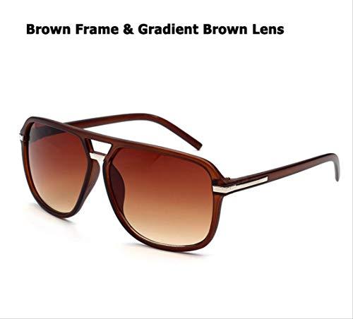 MJDL Mode für Männer Cool Square Style Gradient Sonnenbrille Fahren Vintage Brand Design Günstige Sonnenbrille Oculos De Sol 1155 Braun