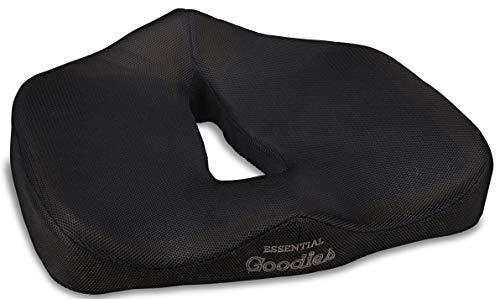 Essential Goodies Orthopädisches Gel-Sitzkissen für Steißbein / Steißbein / Ischias / Lendenwirbelstütze, rutschfest, Dickes Komfortkissen für Fahrer, Autositz, Bürostuhl, Rollstuhl, tragbar, Pad -