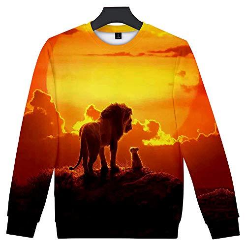 Herren Kostüm Löwen - WQWQ Langärmeliges T-Shirt für Herren und Damen mit Löwenkopf-Print Hoodie Slim Fit Falten-Sweatshirt 100% Polyester XL XXL,A,M