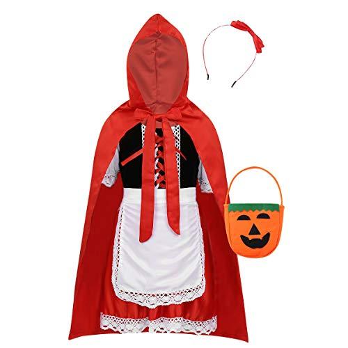 FEESHOW Mädchen Grimm Märchen Cosplay Kostüm Set roter Kapuzenmantel+Samt Kleid+Schürze+Stirnband+Candy Bag Halloween Dress Up Rollenspiel Rot 110-116/5-6Jahre Candy Dress Up