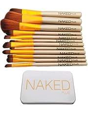 NAKEDPLUS Makeup Brushes Kit with A Silver Storage Box Set