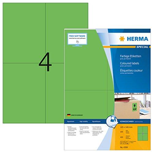 Herma 4399 Farbetiketten (105 x 148 mm, Format DIN A6 auf DIN A4 Papier matt) 400 Stück auf 100 Blatt, grün, bedruckbar, selbstklebend